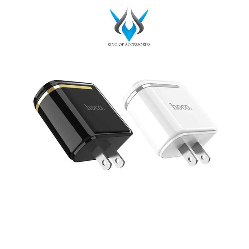 Cốc sạc 2 cổng Hoco C39 chân dẹp - MAX 5V-2.4A (12W) - màn hình LCD hiển thị điện áp (Màu ngẫu nhiên)