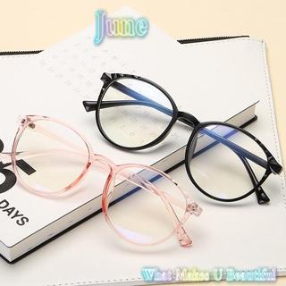 JUNE Cool Vintage Eyeglasses Reduces Eye Strain Flat Mirror Eyewear Optical Eye Glasses Transparent Round Frame Ultralight High-definition Clear Lens Unisex Anti-Blue Rays black/blue/pink