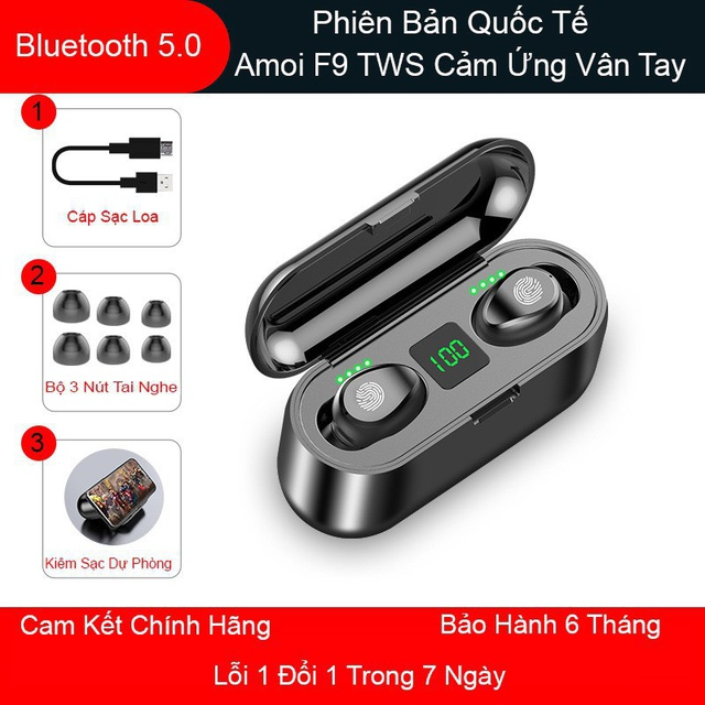Tai nghe True Wireless AMOI F9 Bluetooth 5.0, pin trâu làm sạc dự phòng