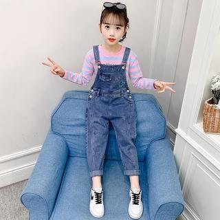 Bộ Quần Yếm Jean Thời Trang Mùa Xuân Hàn Quốc Dành Cho Bé Gái 2021
