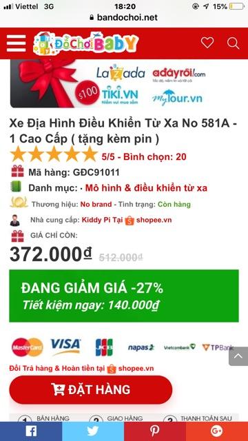 XE ĐỊA HÌNH ĐIỀU KHIỂN TỪ XA No 581A - Dòng cao cấp giá rẻ nhất thị trường