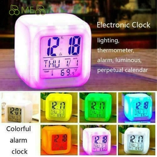 ME For Gift Alarm Clock Bedroom Digital Glowing Night Light 7 Colour Thermometer Snooze With Temperature High Quality LED Change