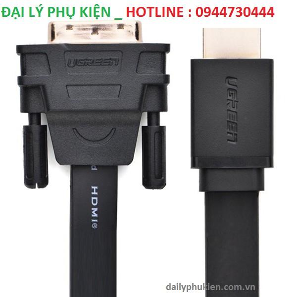 Cáp HDMI to DVI (24+1) mỏng dẹt dài 15M Ugreen 30142