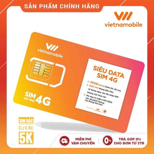 Miễn phí tháng đầu - Sim VietNamobile Siêu Data 4G 30Gb/ Tháng - Duy trì chỉ với 20K