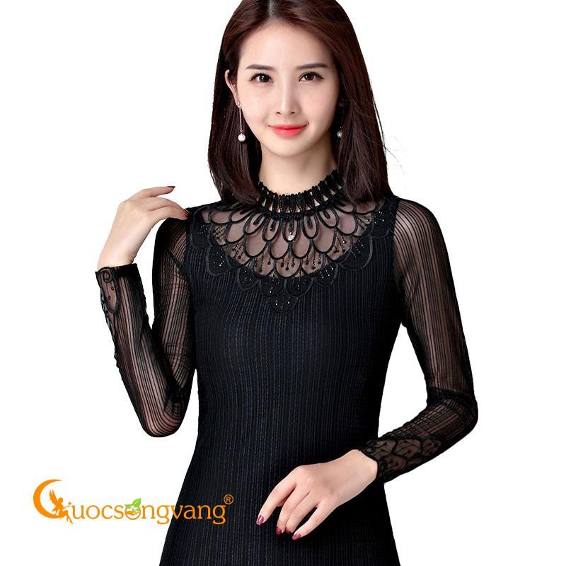 Áo kiểu ren màu đen áo thun lưới phối ren dài tay GLA203 Cuocsongvang