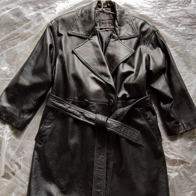 Áo da thật màu đen có dây đai