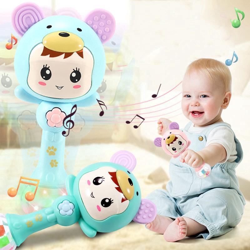 Baby Musical Toys Dynamic Rhythm Stick Baby Rattles Sand Shaker Hammer Toys