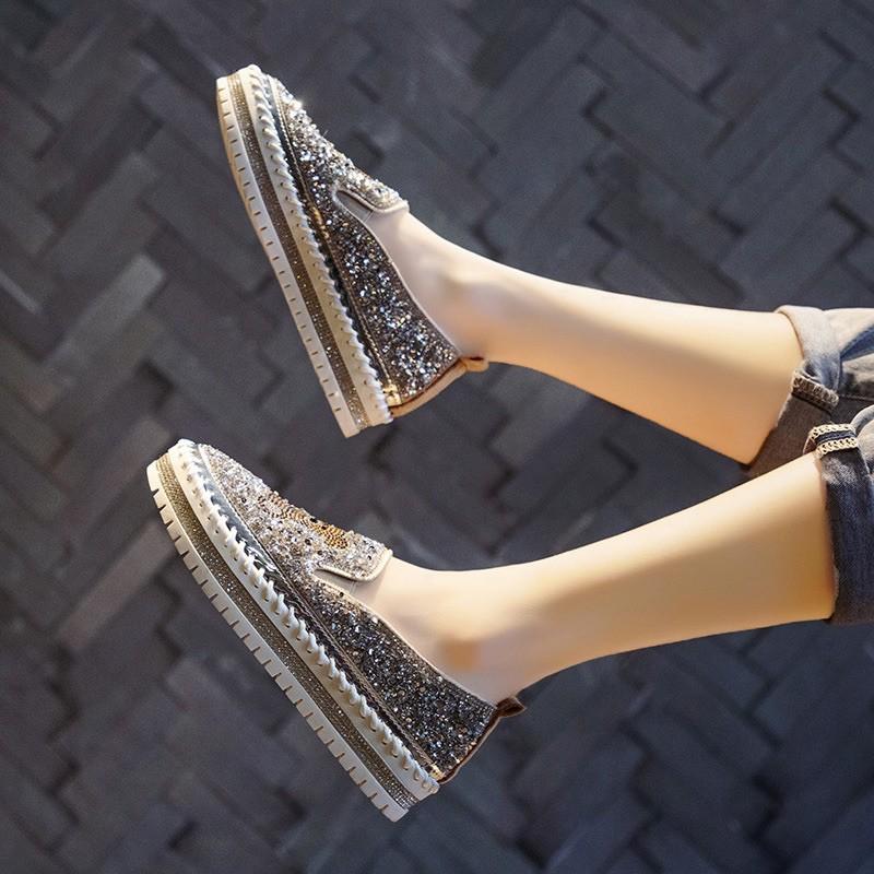 Giày bata slip on ulzzang đính đá lấp lánh