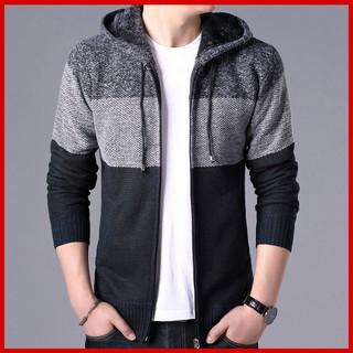 áo khoác len nam 💖 [chất đẹp] 💖 Áo cadigan len lót lông cừu, sọc ngang chất len , kiểu dáng bomber