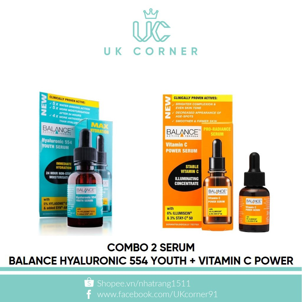 Combo 2 serum Balance Hyaluronic 554 Youth + Vitamin C Power