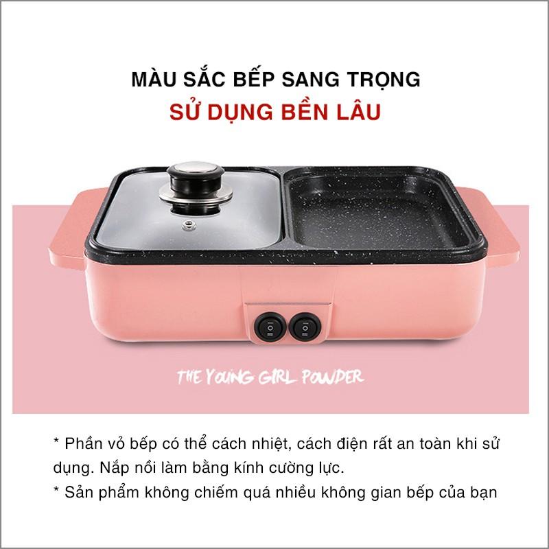 Bếp điện lẩu nướng đa năng 2 ngăn mini siêu chống dính - Nồi Lẩu Kiêm Nướng 🥘 2in1 Mini Hàn Quốc🥘
