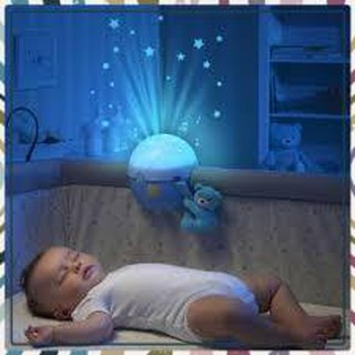 (Siêu Siêu Rẻ)Đèn ngủ gắn cũi phát nhạc Gấu xanh Chicco xinh xắn