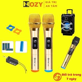 Bộ 2 micro Mic không dây hát Karaoke đôi, chuyên cho amply, loa kéo, hát gia đình Ontek E6,mic không dây thumbnail