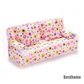 [Besthome] 3 Pcs/set Sofa Couch 2 Cushions For Barbies Kids Dollhouse Furniture Printing
