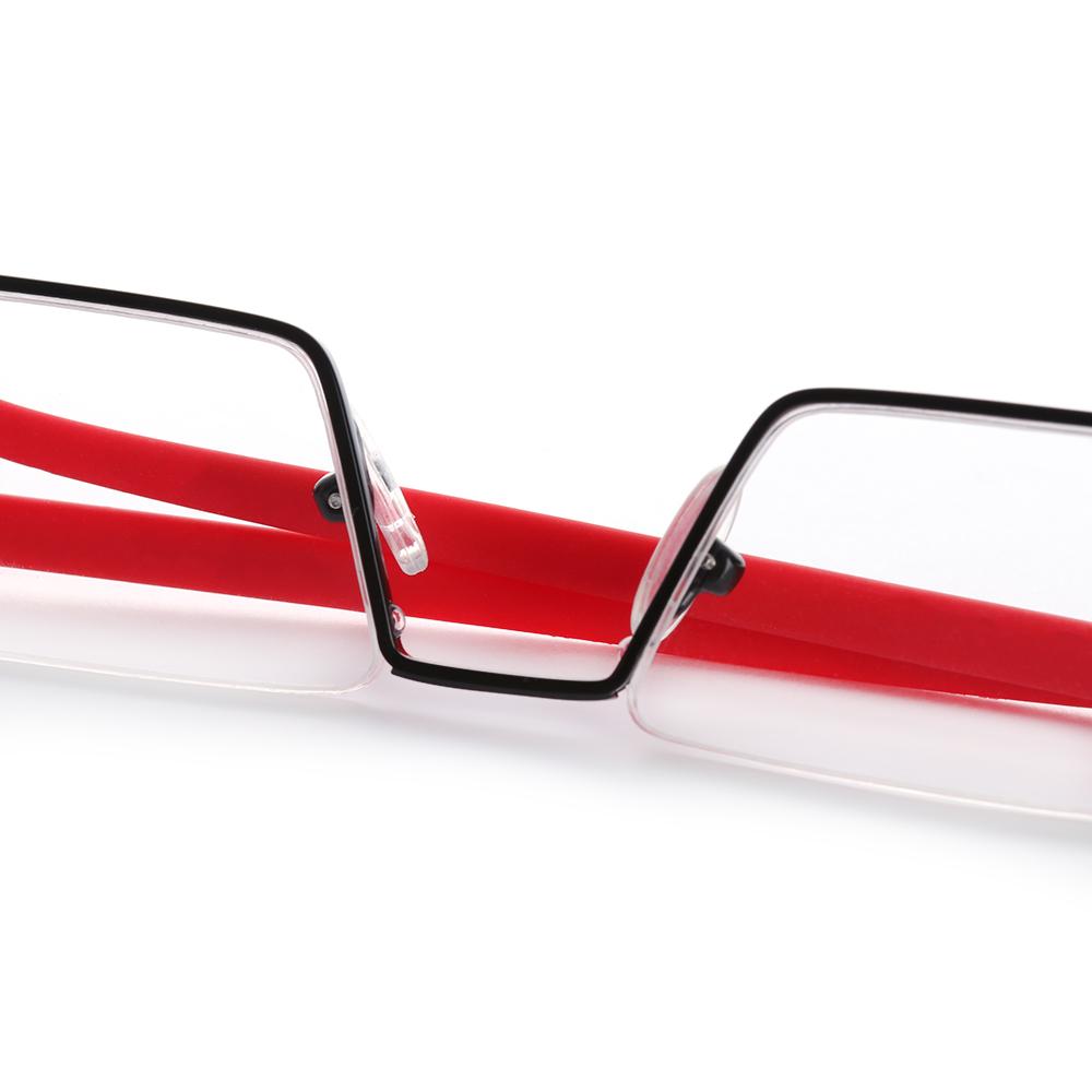 DIACHA Unisex Reading Glasses Portable Semi Rimless Reader Eyeglasses Vision Care TR90 with Case Ultralight Half Frame/Multicolor