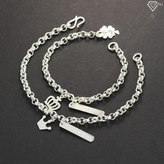 Lắc tay đôi bạc, vòng tay cặp bạc hình King - Queen khắc tên theo yêu cầu LTD0007 - Trang Sức TNJ