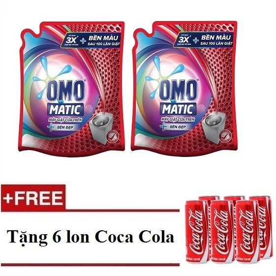 [Quà] Bộ 2 túi Nước giặt Omo Matic bền đẹp túi 2.4kg (MSP 67249279 x2) + Tặng 1 lốc 6 lon coca