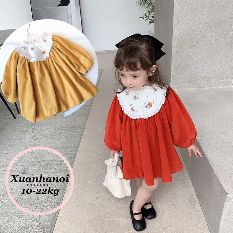 Váy bé gái cổ trắng thêu hoa XHN378