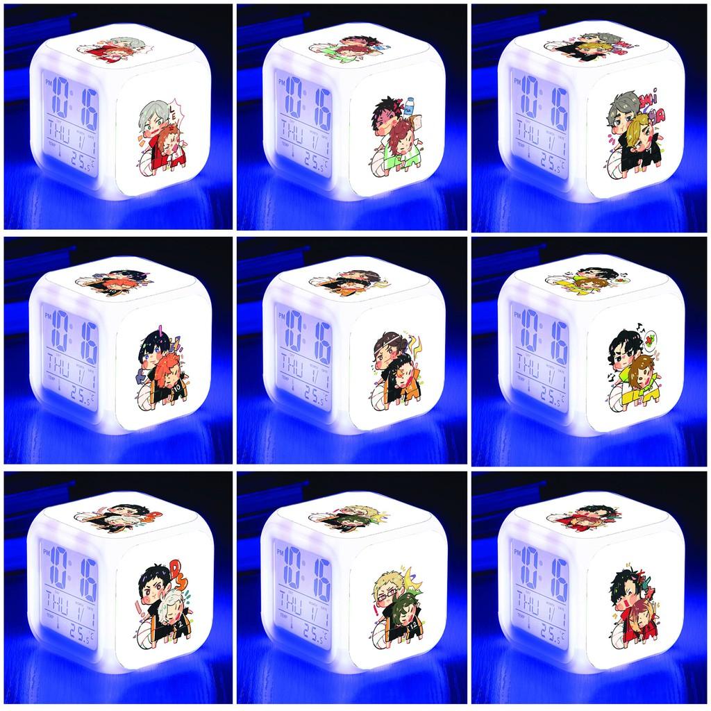 Đồng hồ báo thức để bàn in hình HAIKYUU!! Vua Bóng Chuyền anime chibi LED đổi màu