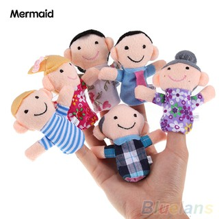 6Pcs Baby Kid Plush Cloth Play Game Learn Story Family Finger Puppets Toys