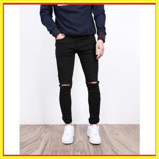 Sản phẩm mới Quần Jeans Nam Rách Gối Đen Trơn