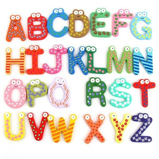 Kids Educational Toys A-Z Wooden Letters Alphabet Learning Fridge Magnet