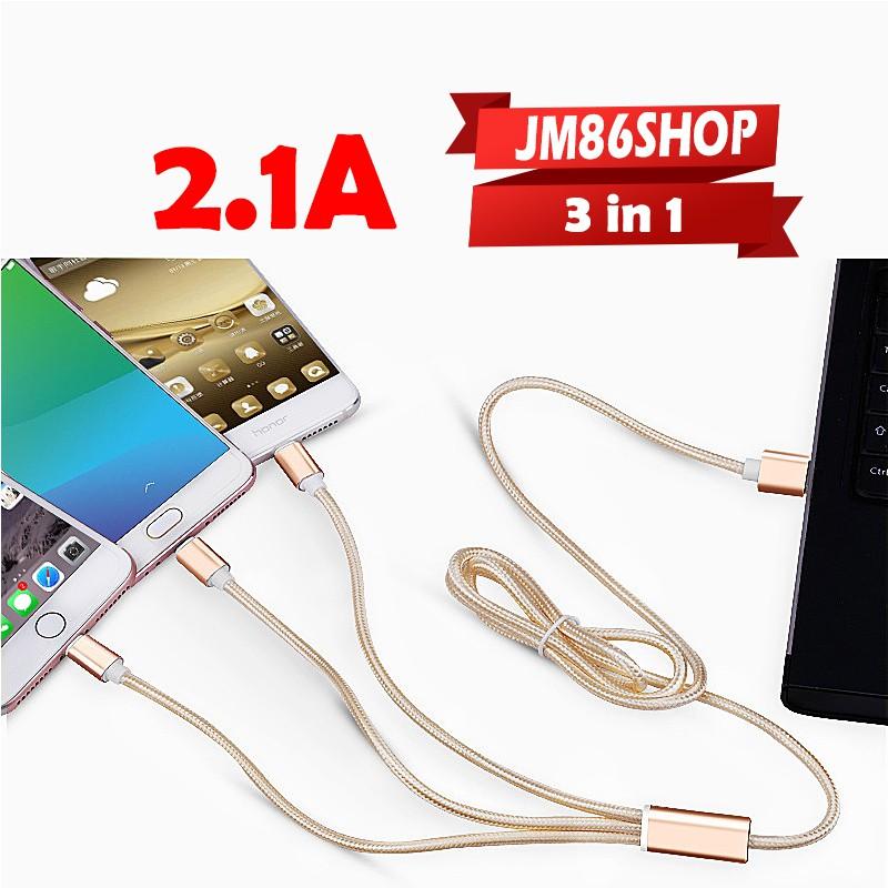 [ iphone - Samsung - Type C ] Dây Sạc Cáp Sạc Đa Năng 2.1A Dây Dữ Liệu Dây Dù Lightning; Type C; Micro Sạc cùng lúc 3 đt