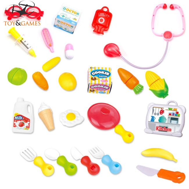 Children Simulation Portable Suitcase Cutting Toys Kit Educational Play House Game Puzzle Toy Gift