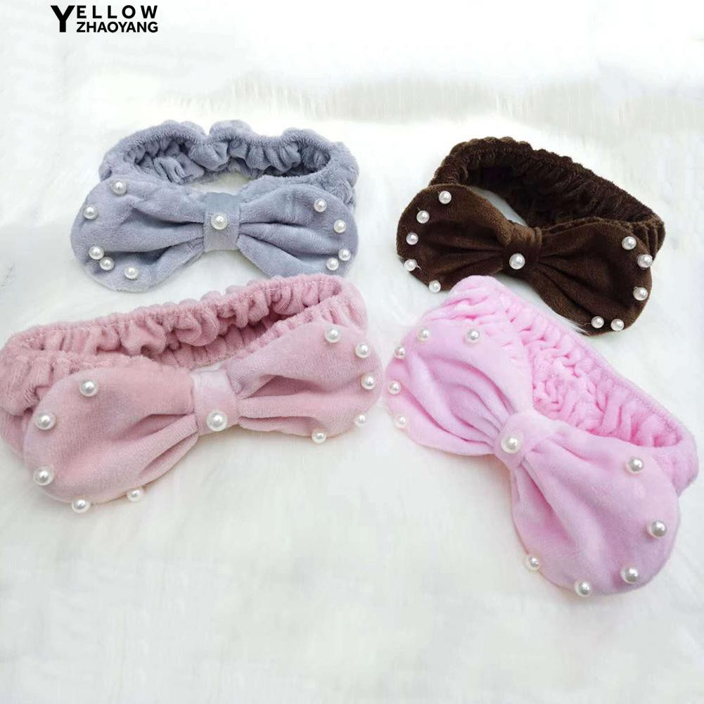 Zhao🌟 Faux Pearl Bow Elastic Hair Band Soft Plush Face Washing