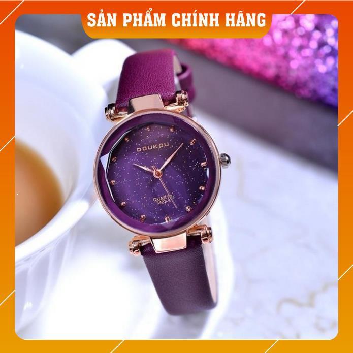 Đồng hồ nữ Doukou 3422 hàng chính hãng dây da mặt sao trời