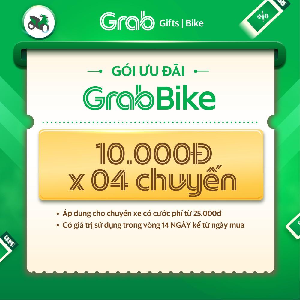 Gói ưu đãi 10k x 4 cho chuyến xe GrabBike từ 25k