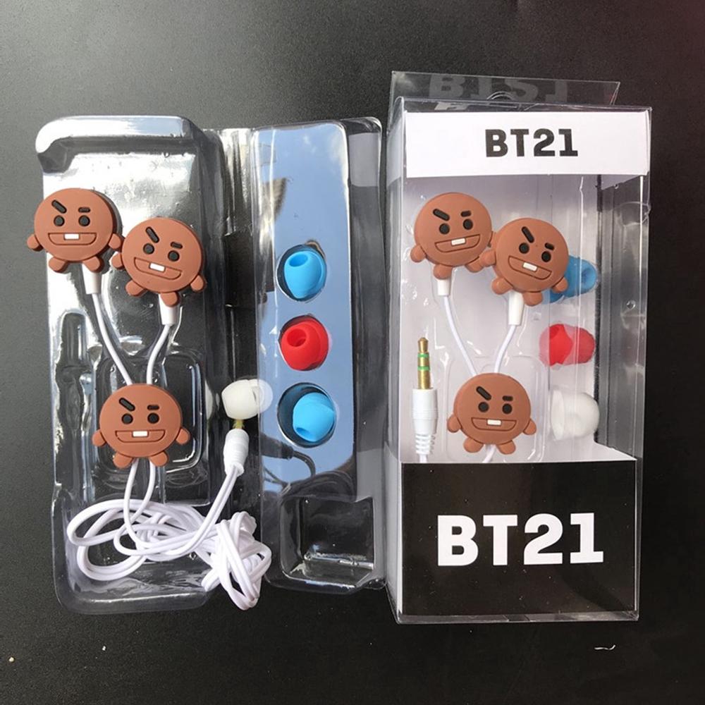 Tai nghe nhét trong trang trí hoạt hình BT21 dễ thương