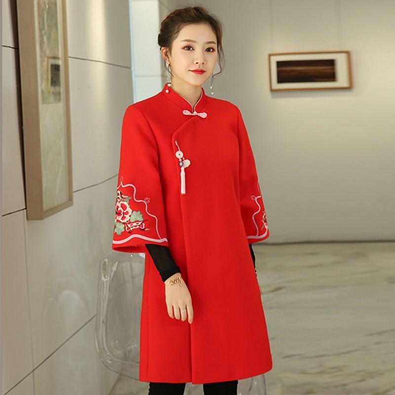 Áo Khoác Thêu Hoa Phong Cách Trung Hoa Dành Cho Nữ