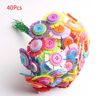 Decoration Home Gift Educational Handmade Room DIY Craft Random Color Kindergarten Button Flower Kit