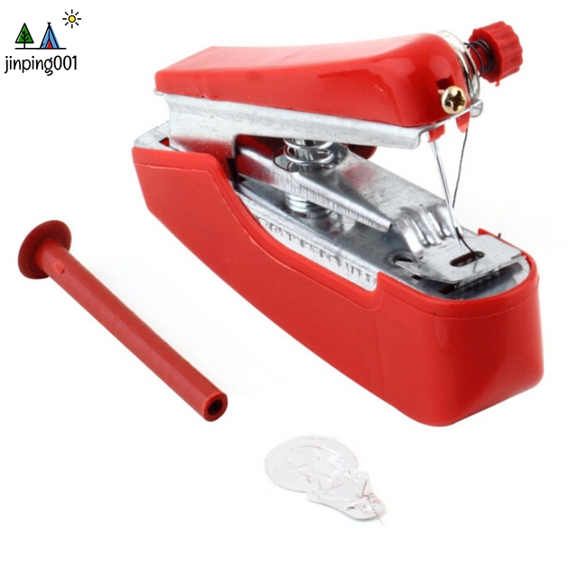 Portable Red Color Mini Hand-Held Sewing Machine for Clothes Fabrics