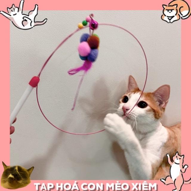 Đồ chơi cần câu làm bằng dây thép siêu bền cục bông lông vũ thư giãn cho chó mèo