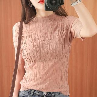 Áo thun len dệt kim ngắn tay cổ lọ thiết kế thời trang cho nữ