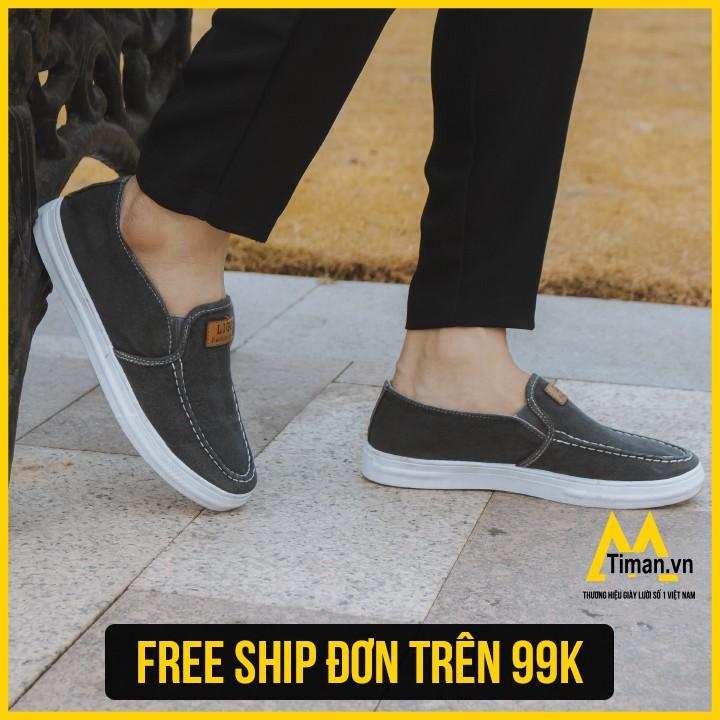 TIMAN.VN – Giày Lười Vải Jean Nam Kiểu Dáng Thời Trang Hót Nhất 2019 Đế Cao Su Êm Chân Màu Nâu Mã TM30