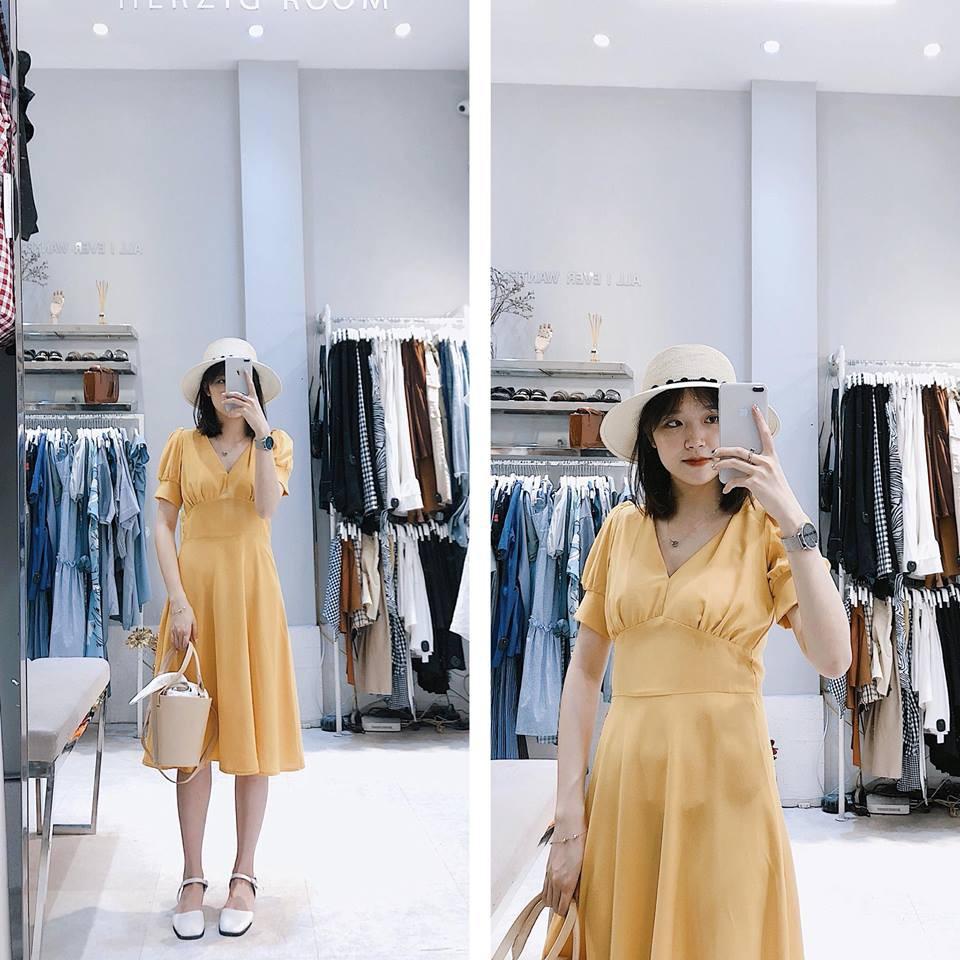 Váy vàng cổ V nhúm ngực - B892- 330