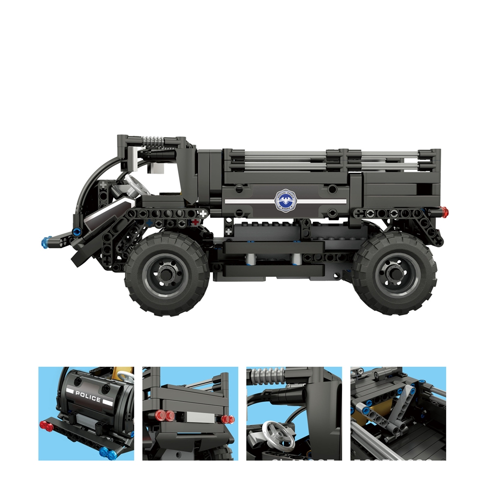 Assembly Electric Police Vehicle Remote Control Building Blocks Car Toy New