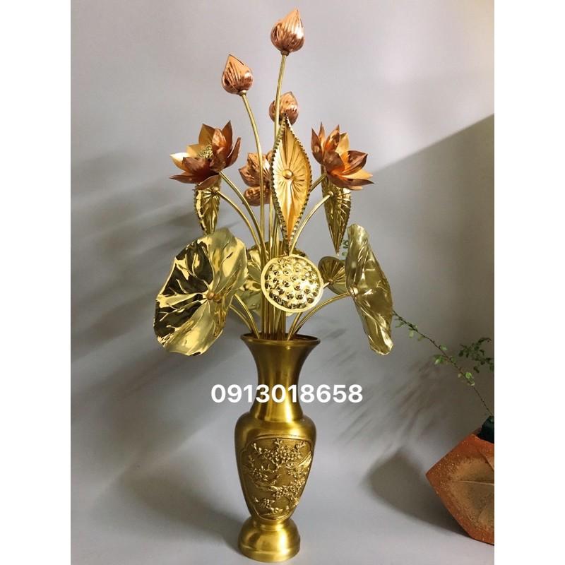 Hoa sen đồng vàng pha đỏ cỡ to 15 bông (không kèm lọ).