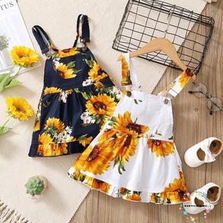 BBCQ-Breathable Summer Little Girls Dress, Children Sunflower Printing Lace Hem Front Pocket Sleeveless Suspender Princess Skirt