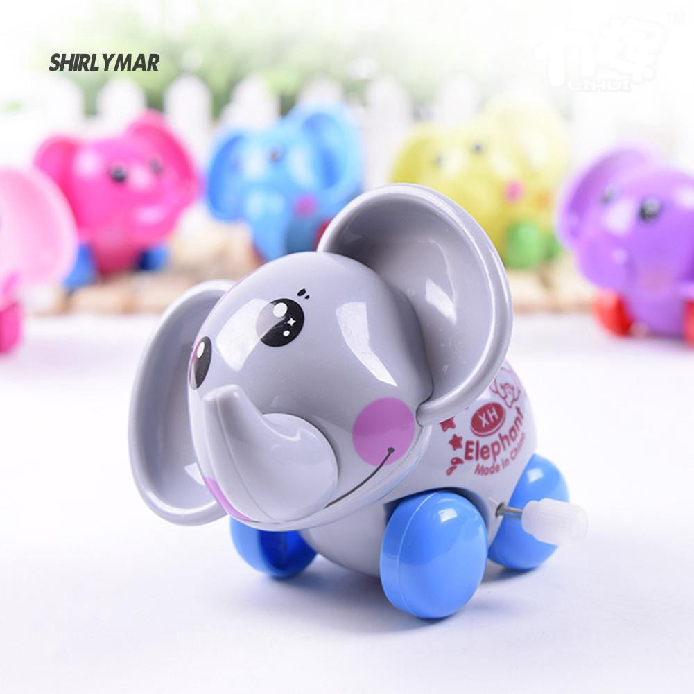 ஐSr Cartoon Elephant Funny Wind Up Clockwork Educational Kid Baby Spring Toy