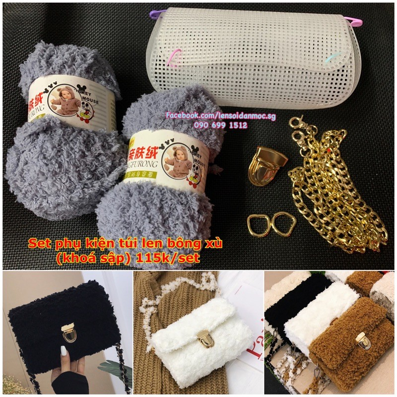 Set phụ kiện làm túi len bông xù (inbox chọn màu)