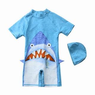 Bộ bơi liền thân kèm mũ cá mập xanh bé trai 3-7 tuổi