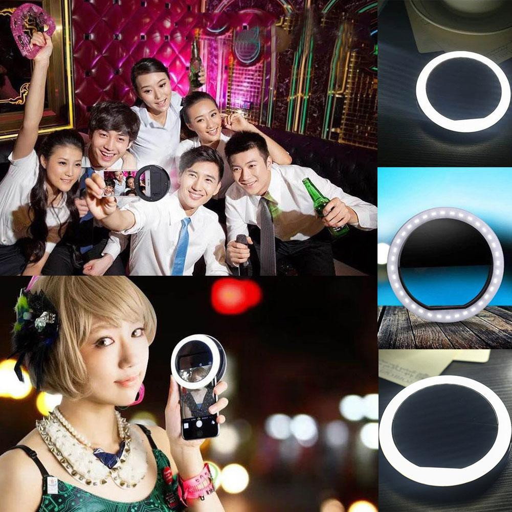 Portable Selfie Ring Flash Led Fill Light Lamp Camera Photography Spotlight