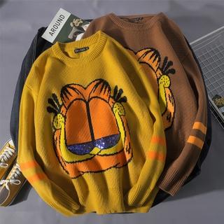 Áo Sweater Dáng Rộng In Hoạt Hình Mèo Garfield Kiểu Hàn Quốc Cá Tính Cho Nam Và Nữ Cỡ M-2xl