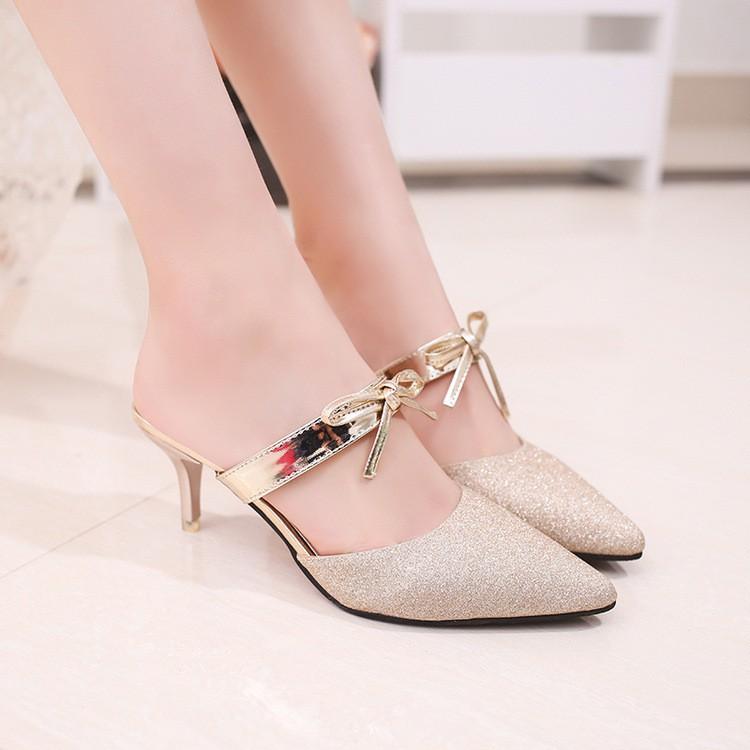 Hàng nhập khẩu: Giày cao gót Đế gót NhọN Bít Mũi Huan cao 5Cm Có Nơ Óng Ánh Pc Hàn QuốC Hong Kong Giày Dép Nữ H188 t0799
