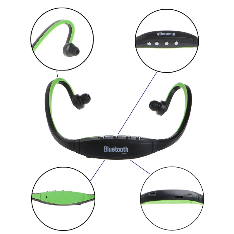 BS17 Bluetooth Headset Music Sports Headphone TF Slot FM Radio Driving Running