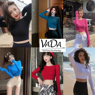 ÁO THUN NỮ Crotop đẹp body cổ tròn tay dài siêu xinh siêu dễ thương, mặc đi chơi, cafe, đi dạo phố - VADA - AC9 thumbnail